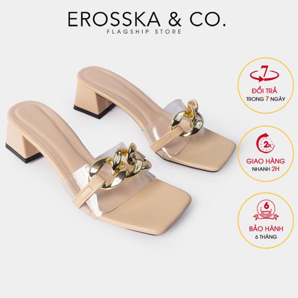 Dép quai xích thời trang Erosska mũi vuông phối quai trong cao 5cm màu nude - EM071 giá rẻ