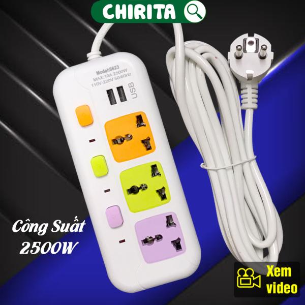 Bảng giá Ổ Cắm Điện Thông Minh 8623 - 3 Phích Cắm , 2 Cổng USB , Phích Cắm Điện Chống Giật , Ổ Cắm Điện Đa Năng Cao Cấp CHIRITA