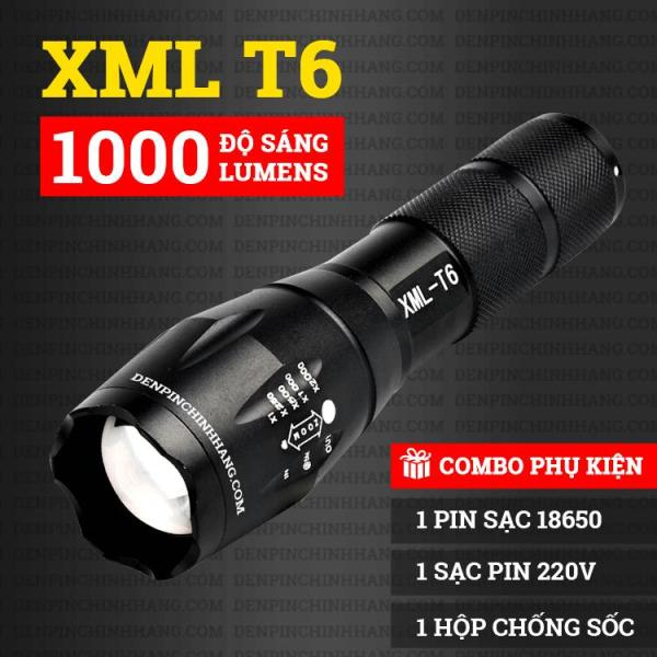 Đèn pin siêu sáng A100 XML công nghệ Mỹ-T6 kèm hộp chống sốc cực sịn - cự ly chiếu xa 200-300m-T6 Sản Phẩm Chất Lượng Cao, Độ Sáng Mạnh.