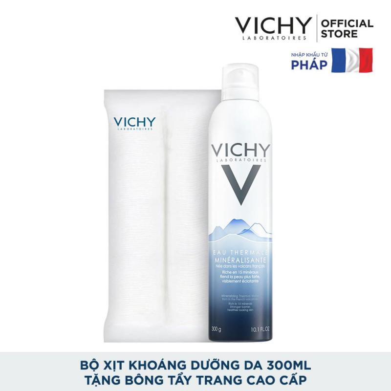 Bộ Xịt khoáng dưỡng da Vichy Mineralizing Thermal Water 300ML và Bông tẩy trang cao cấp cao cấp