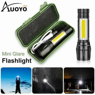 Auoyo Mini LED Flashlight COB Reader Lamp Zoomable Pocket Penlight Adjustable Focus Torch Light USB Lamp with 3 Light Modes for Camping Hiking thumbnail
