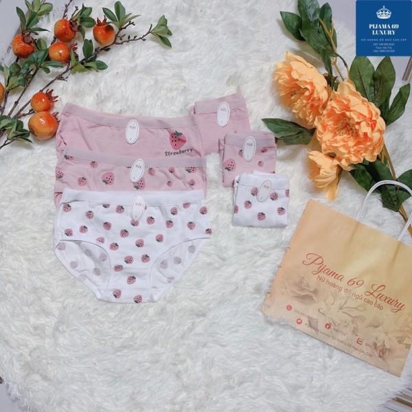 Giá bán Đồ Lót Nữ-Quần Lót Cotton Họa Tiết Quả Dâu Nhiều Màu 69 Luxury