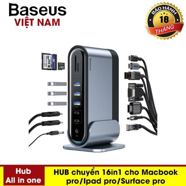 Siêu phẩm 16in1 Bộ chia Port HUB USB chia bộ sạc thành 16 cổng chuyển  chuyên dành cho MacBook Pro Air iPad Pro Surface Pro 4 thiết kế hợp kim nhôm hiện đại- Phân phối bởi Baseus Vietnam