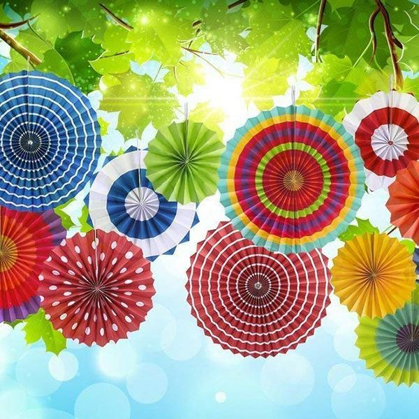 Paper Flowers Fan For Party/Birthday Decoration 12 Pcs/Pack Singapore