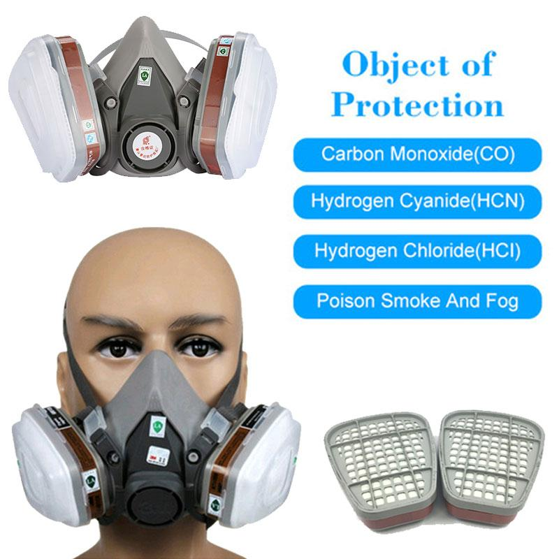 ABS 7pcs Suits Respirator Facepiece Respirator Anti Formaldehyde Facepiece Filter Universal Protable Anti Pesticide Anti Particles Chemical Gas Mask