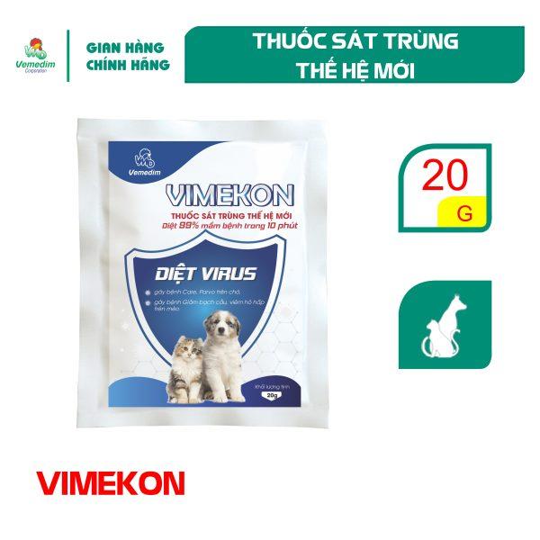Vemedim Vimekon for pets sát trùng chuồng trại nuôi chó, mèo, diệt virus gây bệnh trên chó, mèo, gói 20g
