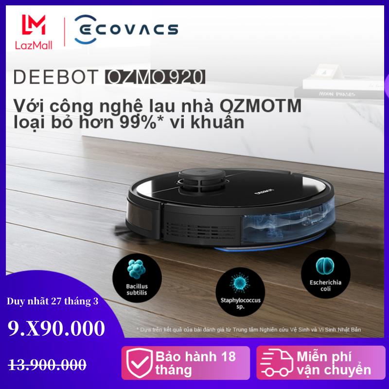 Robot hút bụi lau nhà thông minh Ecovacs Deebot OZMO 920, động cơ hút 2 chế độ , chổi quét ven 2.0 làm sạch hiệu quả hơn- Bảo hành chính hãng 18 tháng - Hàng chính hãng