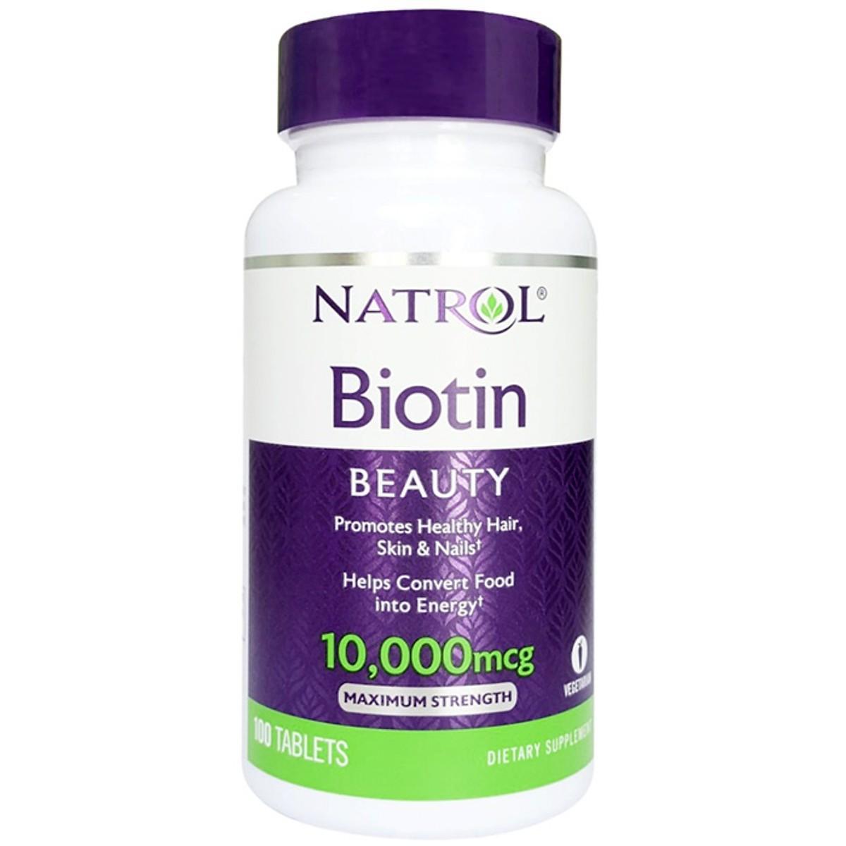 Thực phẩm chức năng bảo vệ sức khỏe Natrol Biotin Beauty 10000 mcg - Hộp 100 viên cao cấp