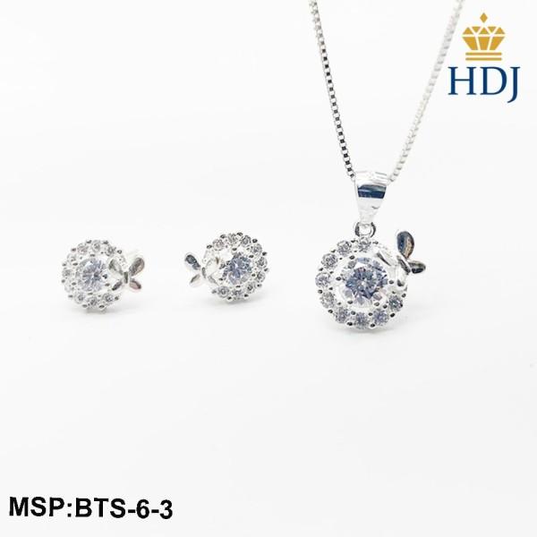 Combo dây chuyền và bông tai bạc Ý 925 Hình Cánh bướm mùa xuân sang trọng trang sức cao cấp HDJ mã BTS-6-3