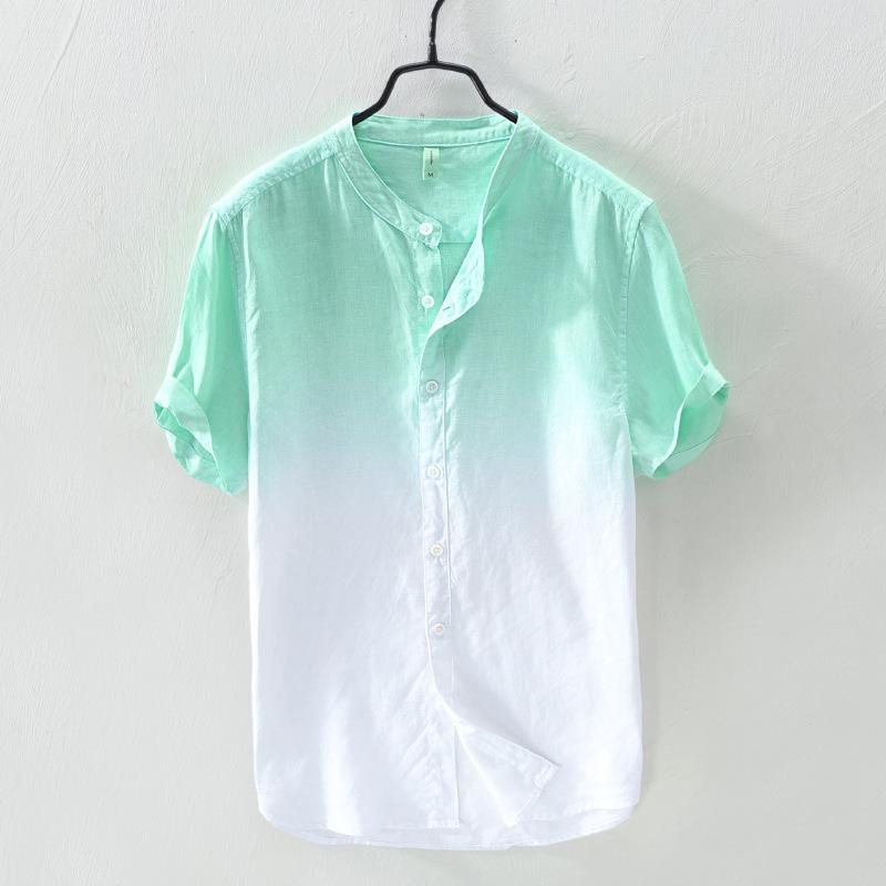 ce140687cf Clothes Male Summer Gradient Color Shirt Flax Short Sleeve Leisure Loose  Literature And Art Fresh Cotton