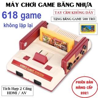 Máy Chơi Game 4 Nút Cầm Tay- Máy Chơi Điện Tử Trên Tivi HDMI AV, Game cổ điển 2 người chơi Tặng kèm 1 băng game nhựa 500 trò chơi không lặp lại thumbnail