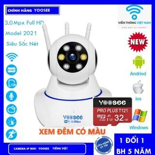 Camera IP YooSee WIFI 3 Râu 8 Led Xoay 360 Độ, Ban Đêm Có Màu Quan Sát Rõ Ngày Và Đêm FULL HD 1080p 4.0mpx Báo Động Chống Trộm Kèm Thẻ Nhớ - Chính Hãng thumbnail