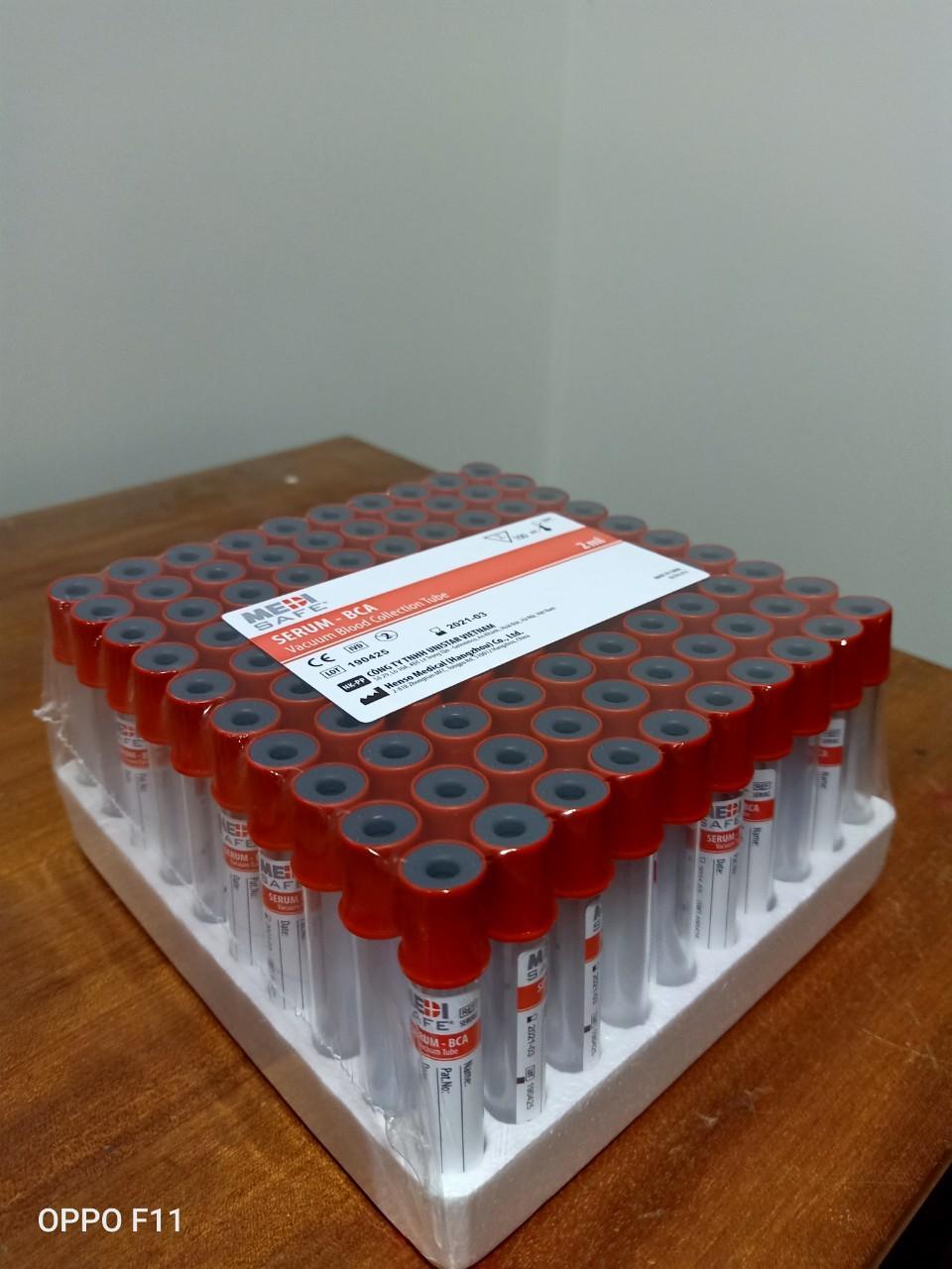 Ống nghiệm máu chân không Serum 2ml medisafe (khay 100 ống)
