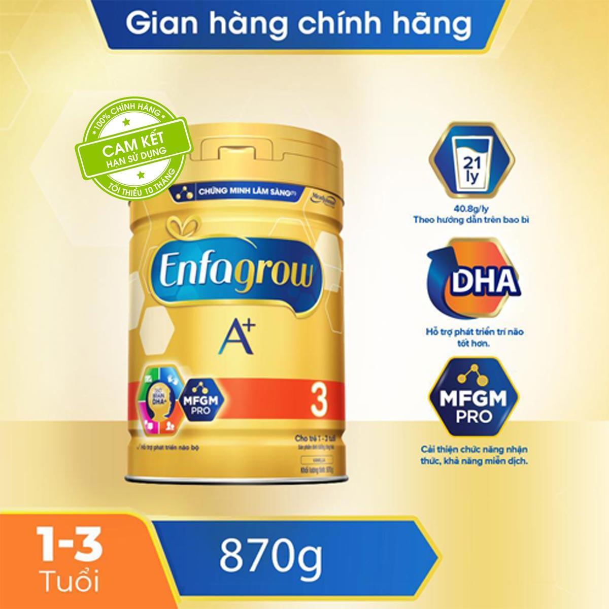 Deal Khuyến Mại Sữa Bột Enfagrow A+ 3 Cho Trẻ Từ 1-3 Tuổi (870g) - Cam Kết HSD Còn ít Nhất 10 Tháng