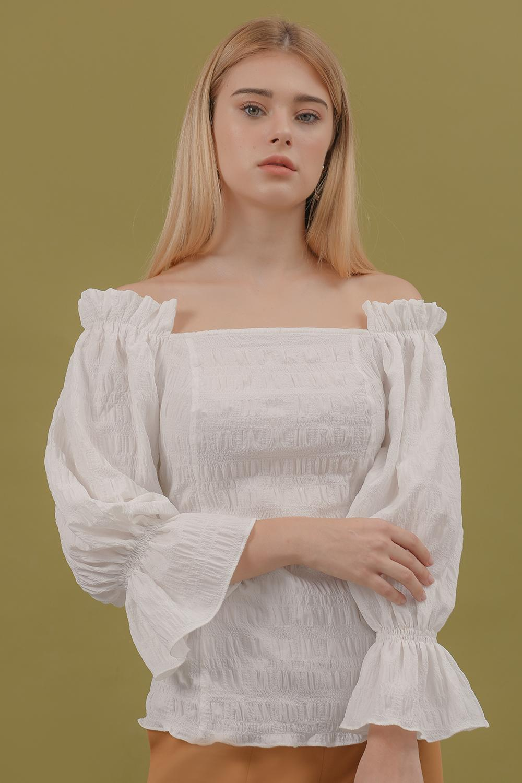 Áo Cổ Vuông Tay Nhún - Lilya 02TOP2323 Giảm Cực Hot
