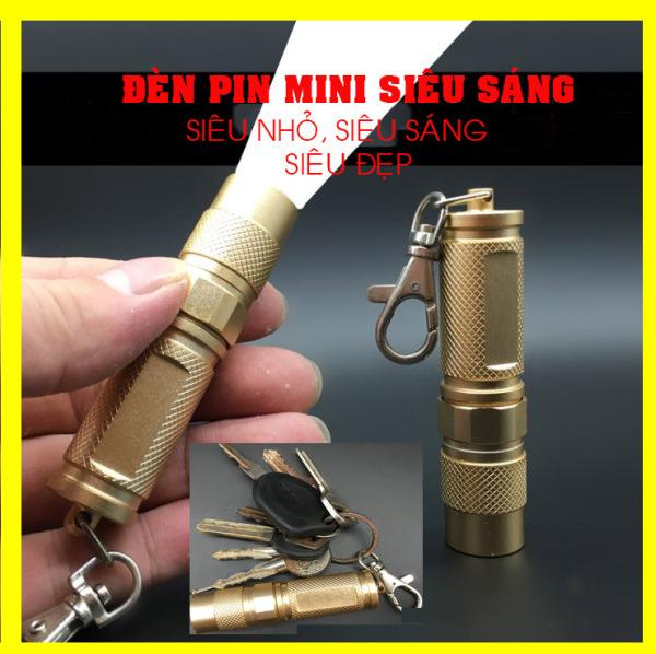 Đèn Pin Siêu Sáng Mini, Quá nhỏ Gọn, Dùng làm móc chiều khóa, đèn pin nhỏ gọn bỏ túi(nhanhnhat)