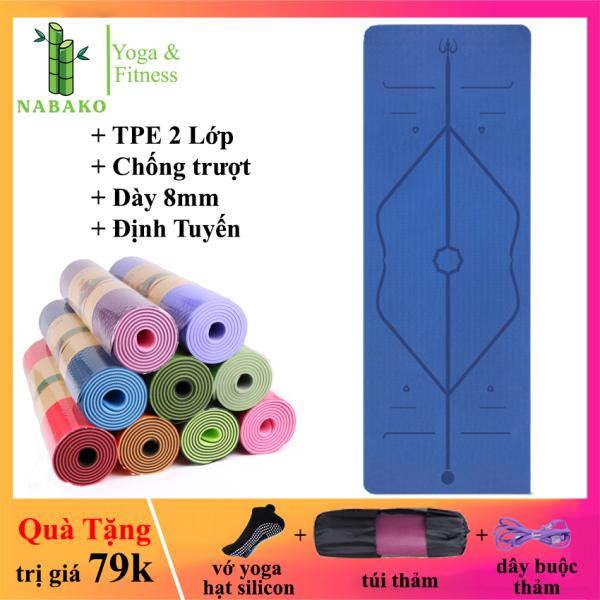 Bảng giá Thảm Tập Yoga 2 Lớp Định Tuyến TPE Chống Trượt 8mm - Nabako (Tặng kèm vớ silicon chống trượt, túi và dây buộc thảm, tổng trị giá 79k) Thảm Yoga Chống Trượt Cao Cấp