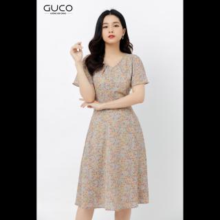 GUCO - Đầm nữ dáng xòe hai lớp cổ chữ V họa tiết hoa nhí 2372 thumbnail