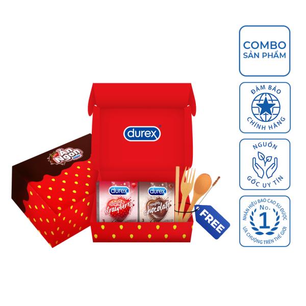 Bộ sản phẩm Durex – Ăn ngon trọn vị (4 hộp bao cao su 3 bao/hộp + bộ muỗng nĩa) nhập khẩu