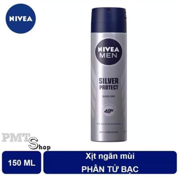 Xịt ngăn mùi Nivea men Silver Protect 150ml phân tử bạc ngăn khuẩn gây mùi vượt trội nhập khẩu