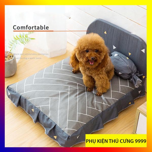 Giường nệm êm ái cho chó, mèo tặng kèm gối ôm, giường vải cotton thoáng mát thoải mãi dễ chịu