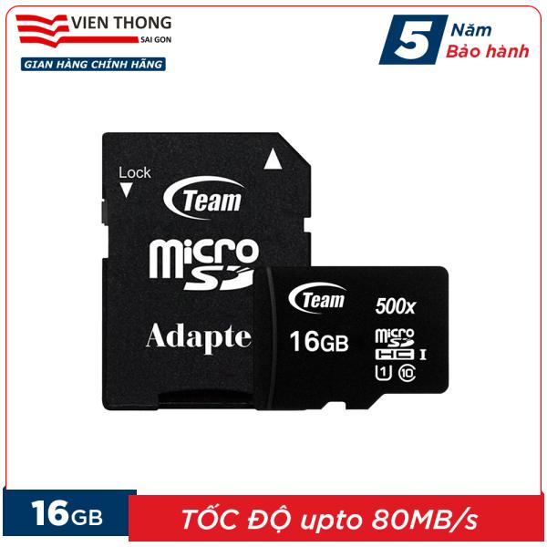 Thẻ nhớ 16GB micro SDHC Team 500x upto 80MB/s class 10 kèm Adapter (Đen) - Hãng phân phối chính thức (PT)