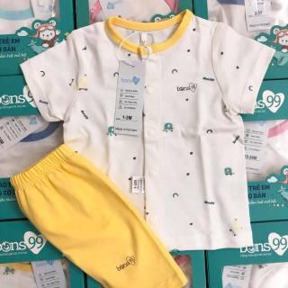 Bộ quần áo cộc tay cài giữa bé trai, bé gái Bons99, 100% cotton mát và mềm mịn thumbnail