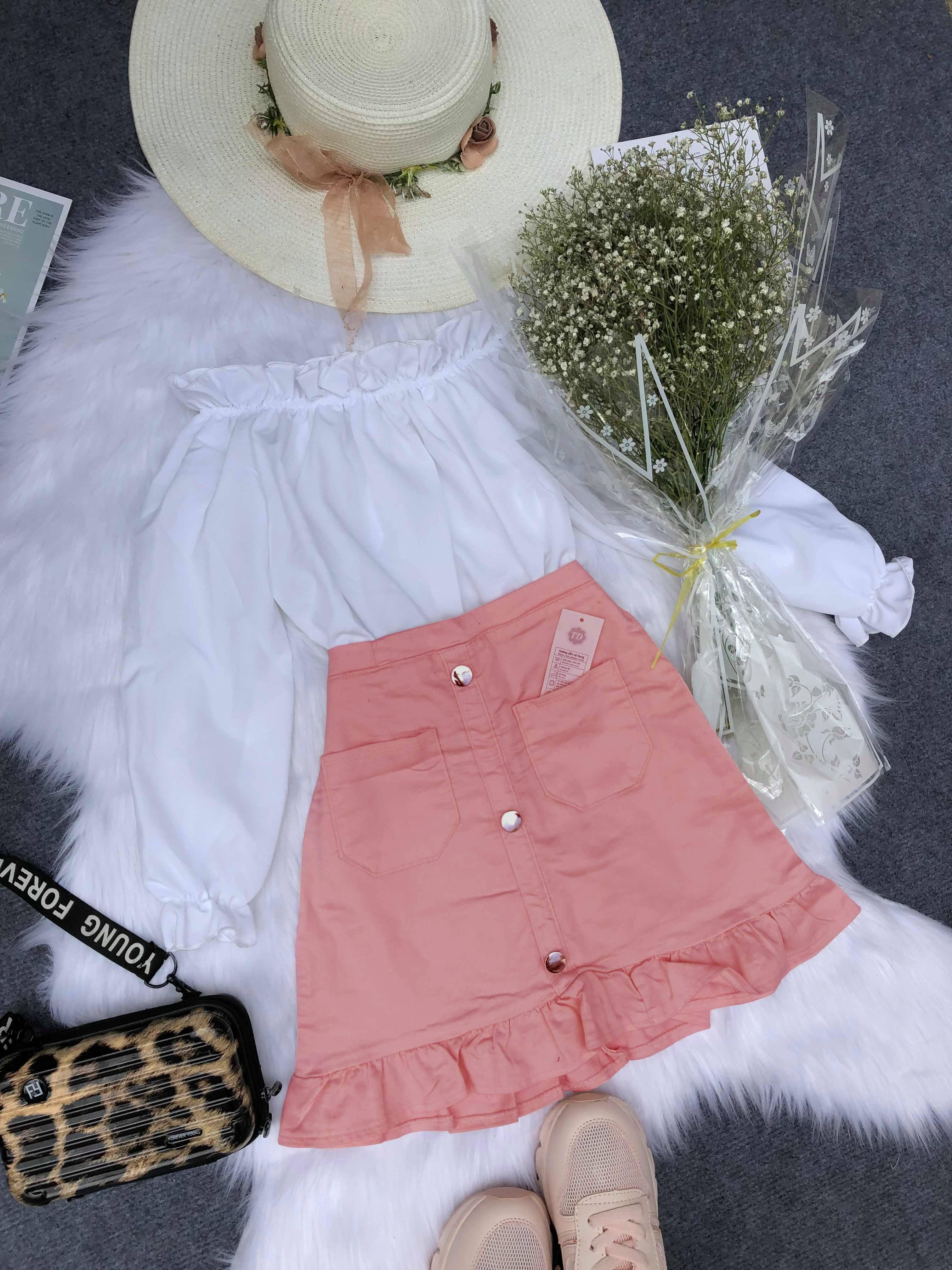 Set áo bẹt vai và chân váy thời trang nữ KA04