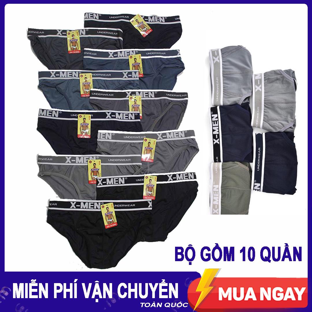 [HCM]Bộ 10 quần lót nam chất liệu thun lạnh thoáng mát co giãn 4 chiều thiết kế khéo léo ôm trọn vòng 3