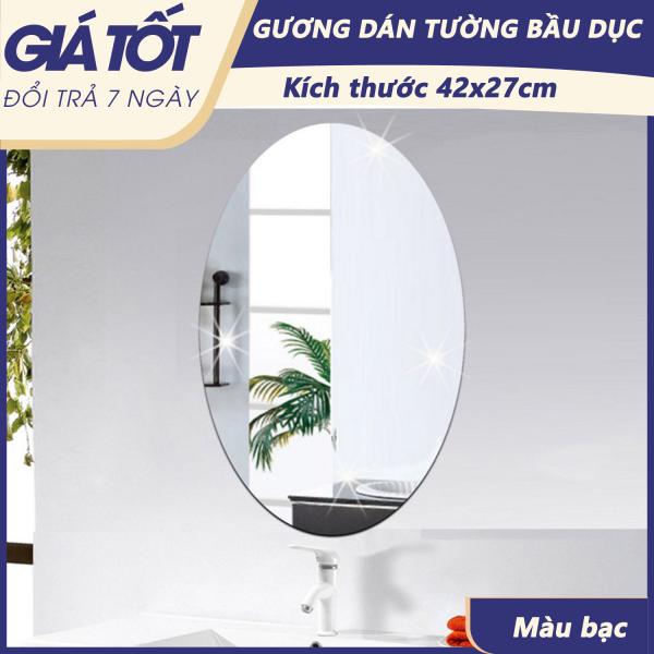 ( Gương trang trí) Gương dán tường, gương dán tường hình bầu dục, kích thước 42x27cm. gương nhà tắm - Hỗ trợ đổi trả 7 ngày giá rẻ
