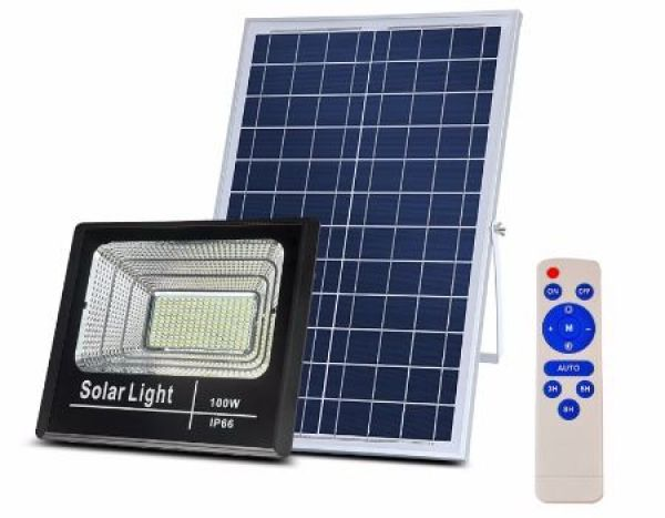 Đèn pha led Năng Lượng Mặt Trời công suất 100w kèm tấm pin rời có remote có cảm biến tự động dây nối 5m loại tốt sáng 12-20h