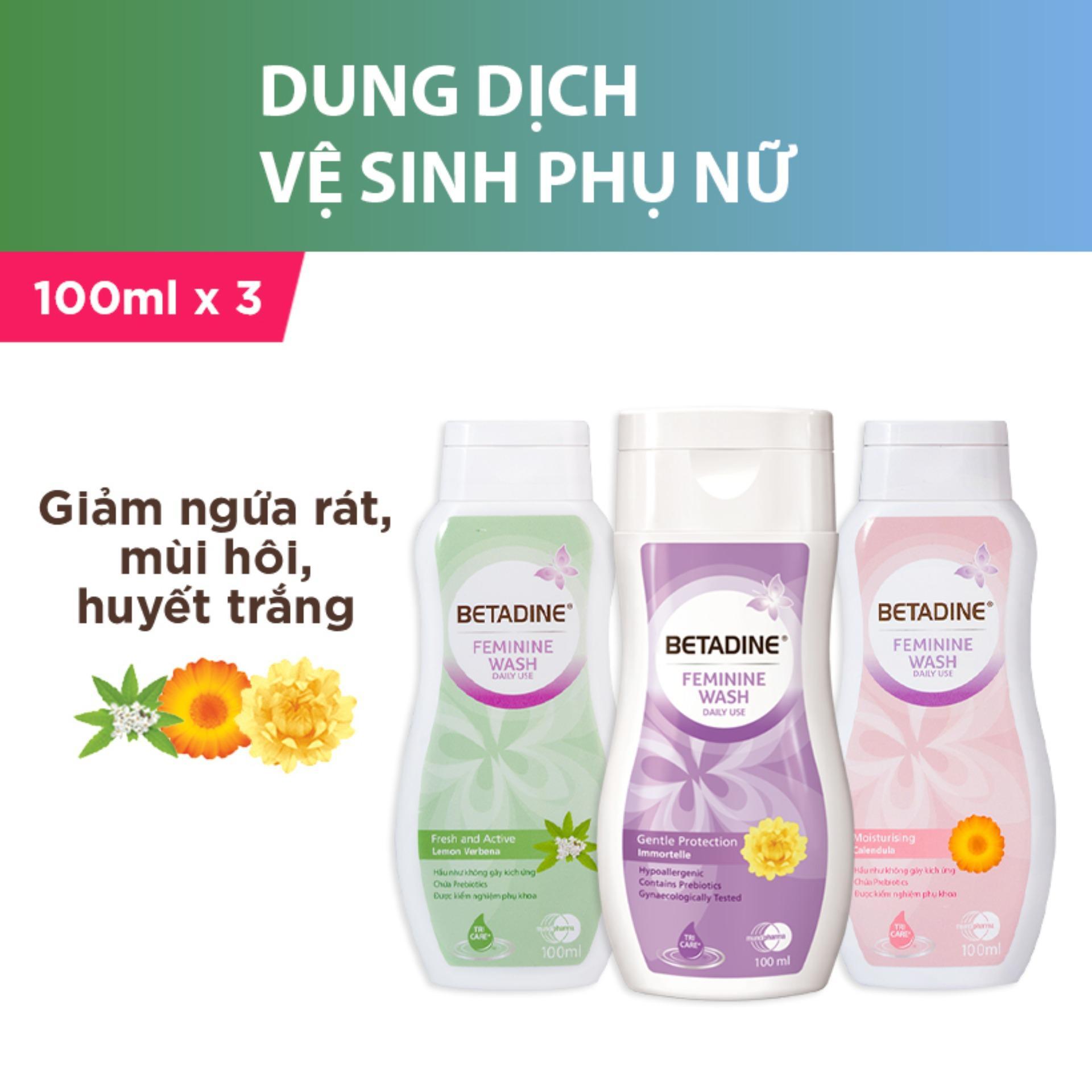 Bộ 3 dung dịch vệ sinh phụ nữ Betadine (Tím, Hồng, Xanh) - chai 100ml cao cấp