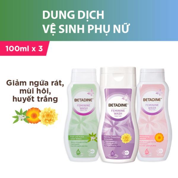 Bộ 3 dung dịch vệ sinh phụ nữ Betadine (Tím, Hồng, Xanh) - chai 100ml giá rẻ