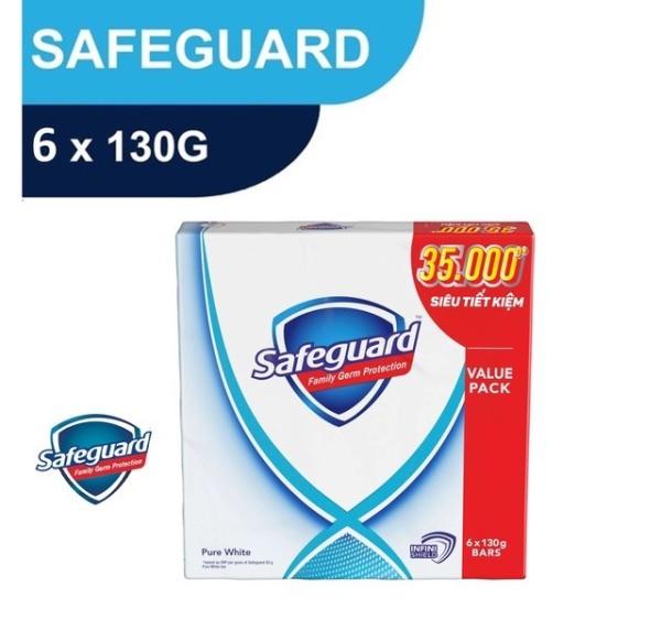 Xà bông cục Safeguard Trắng tinh khiết Gói siêu đại 130gX6 cao cấp