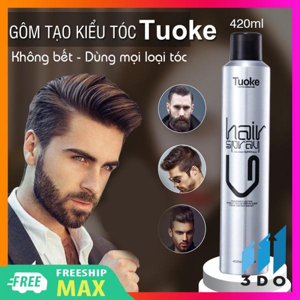 Keo xịt tóc nam, gôm dưỡng tóc Tuoke 420ml , dễ dàng tạo nếp, mùi hương nước hoa sảng khoái dễ chịu, sử dụng để giữ form tóc một cách hoàn hảo, tăng độ cứng cho tóc, giữ nếp nguyên vẹn ngay cả khi đội mũ bảo hiểm giá rẻ