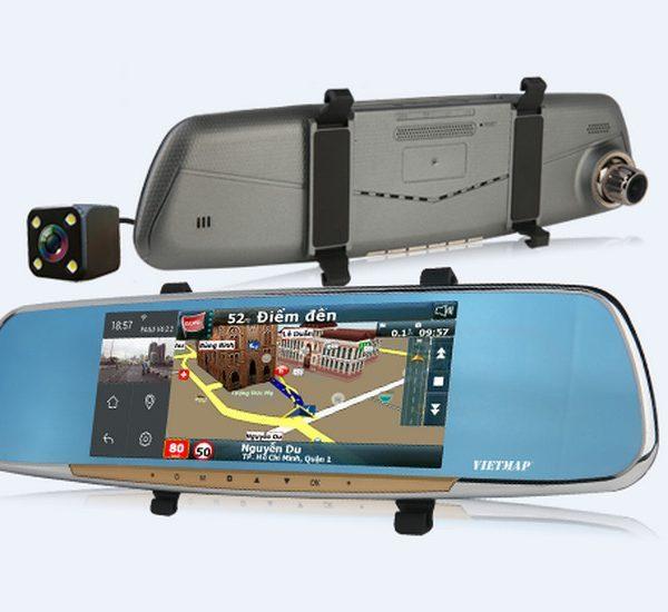 Camera hành trình kẹp gương chiếu hậu,Camera hành trình DẠNG GƯƠNG CHIẾU HẬU FULLHD 1080P-Hệ thống hỗ trợ lái xe tân tiến Car Black Box DVR with G-sens quay đồng thời hai mắt trước sau