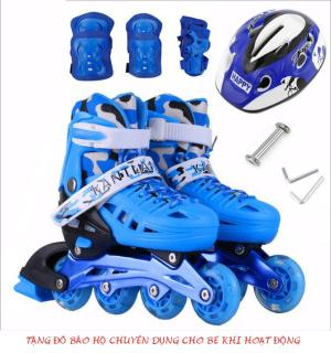 [Giày Patin Giá Tốt Mẫu Mới 2019] Giày Trượt Patin Trẻ Em Nên Dùng Trong Năm 2019 , Giày Patin Trẻ Em Tặng Mũ Và Đồ Bảo Hộ-Được Làm Bằng Chất Liệu Chuyên Dụng Chắc Chắn-An Toàn-Giúp Người Dùng Luôn Thỏa Mái thumbnail