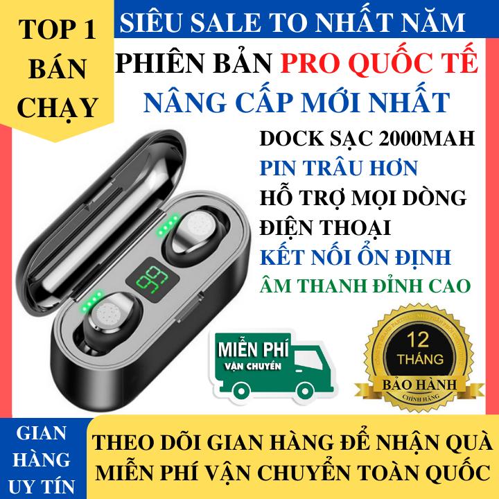 Tai Nghe Bluetooth Amoi F9 Phiên Bản Pro Quốc Tế Nâng Cấp Cảm Ứng Hỗ Trợ Mọi Dòng Máy, Âm Bass Mạnh, Pin Trâu, Chống Ồn -Tai Nghe Nhét Tai Không Dây Bluetooth Pin Trâu, Tai Phone Bluetooth, Tai nghe buetooth