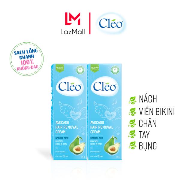 Combo 2 Hộp Kem Tẩy Lông chiết xuất bơ cho da thường Cleo Avocado Hair Removal Cream Normal Skin 25gx2, an toàn, không đau và đạt hiệu quả nhanh chóng cao cấp