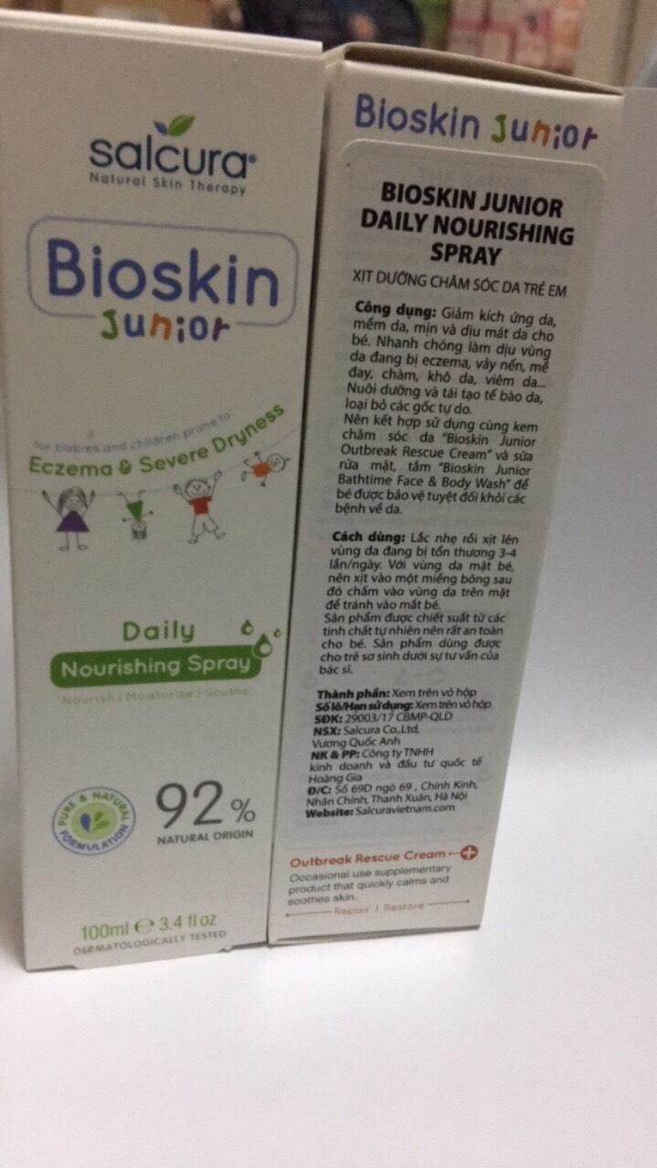 XỊT NGOÀI DA BIOSKIN JUNIOR DAILY NOURISHING SPRAY 100ML.