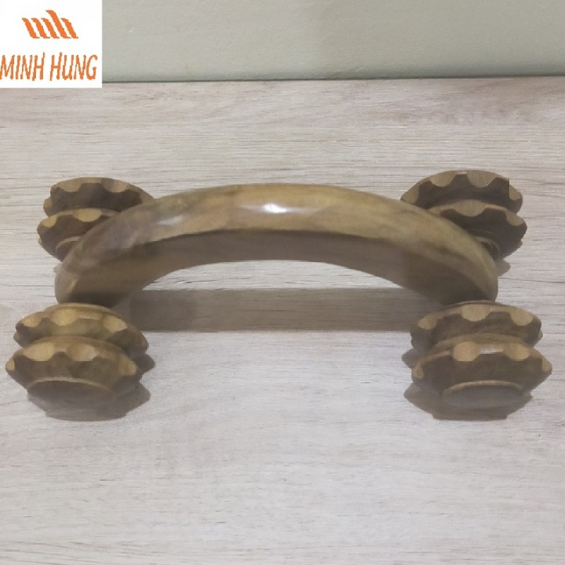 Cây lăn massage toàn thân bằng gỗ Bách Xanh 4 bánh cao cấp