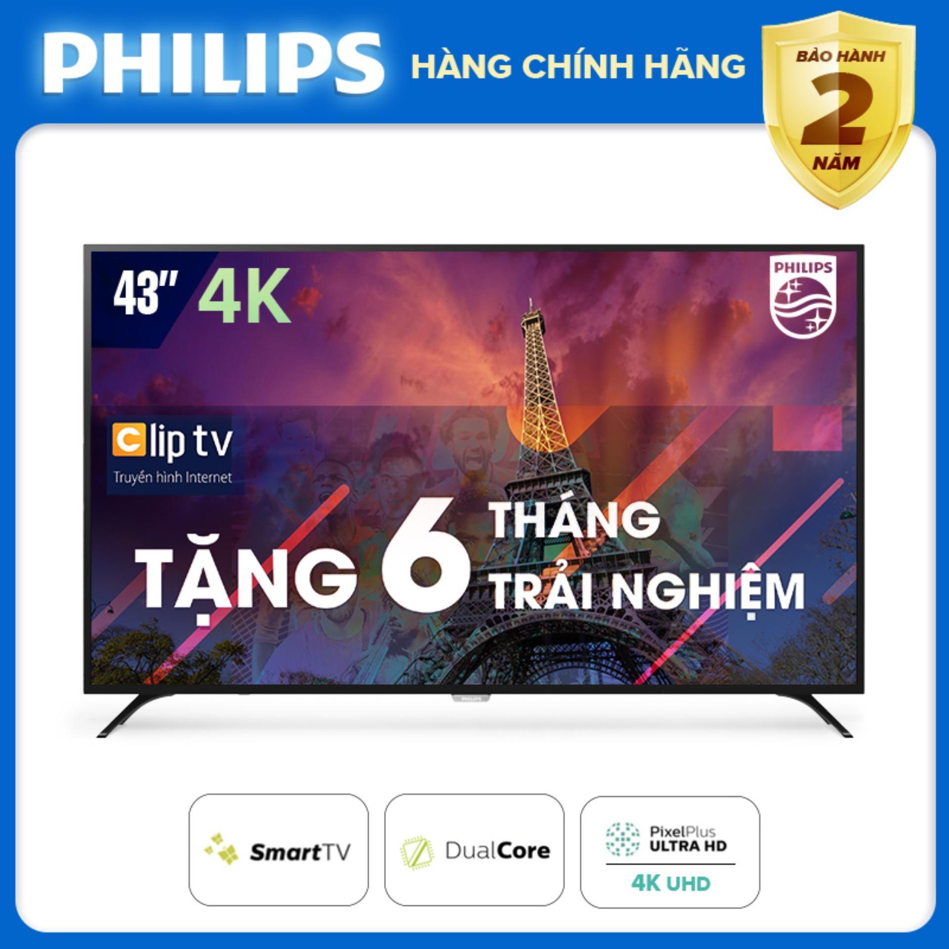 Bảng giá SMART TIVI PHILIPS 4K UHD 43 INCH KẾT NỐI INTERNET WIFI - hàng Thái Lan - Free 6 tháng xem phim Clip TV - Bảo hành 2 năm tại nhà - 43PUT6023S/74 Tivi Philips