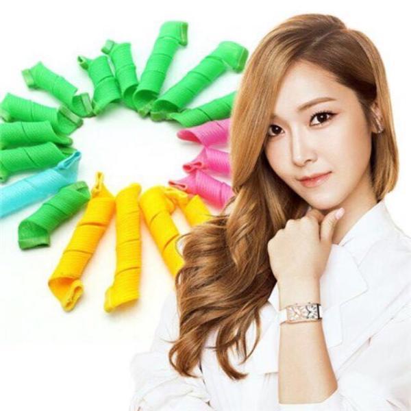 Bộ tạo kiểu tóc xoăn ốc sên 18 ống - Lô uốn tóc không dùng nhiệt - Lô cuốn tóc tạo kiểu tóc xoăn gợn sóng chuẩn - Dụng cụ làm tóc.