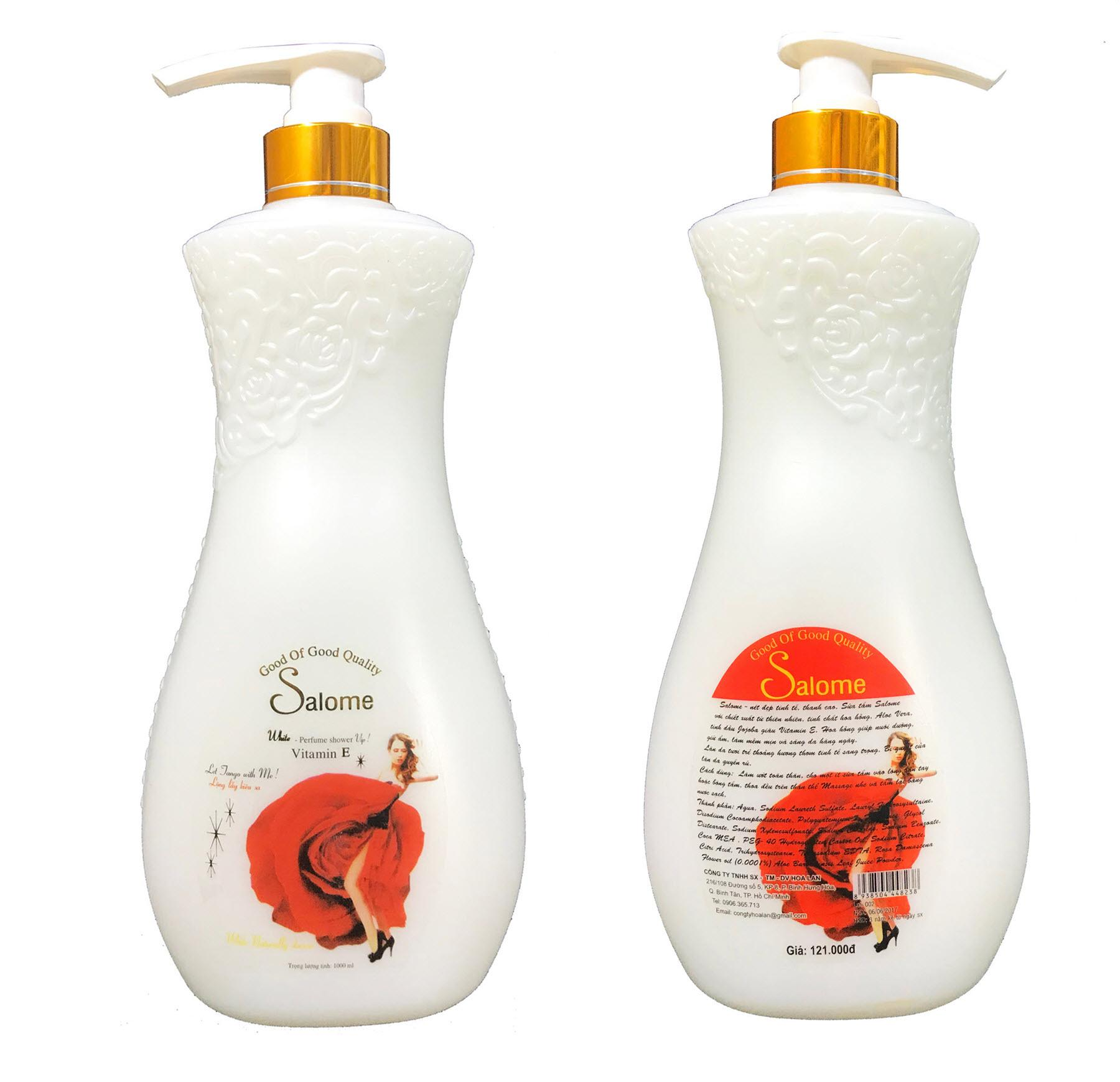 Combo 2 chai sữa tắm Salome sáng và dưỡng da tinh chất Hoa hồng 1000ml x 2 chai
