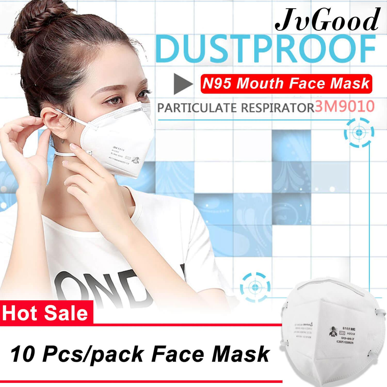 JvGood 10 Pcs/pack 3M 9010 Mouth Face Mask Anti-fog Anti PM 2.5 Respirator Anti Dust Haze Disposable Particulate Mask Respirator N95 Level for Men Women