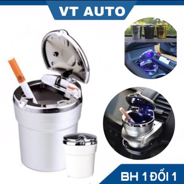 Gạt tàn thuốc mạ viền có đèn led lắp xe hơi oto - cốc gạt tàn oto - VT auto