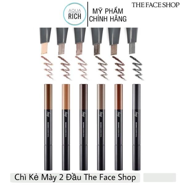 Chì Kẻ Mày The Face Shop 2 Đầu Designing Eyebrow Pencil 3g 03 #Brown 05 #Dark Brown