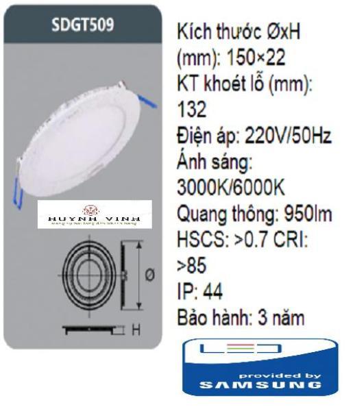 ĐÈN LED SAMSUNG PANEL ÂM TRẦN 9W DUHAL - SDGT509