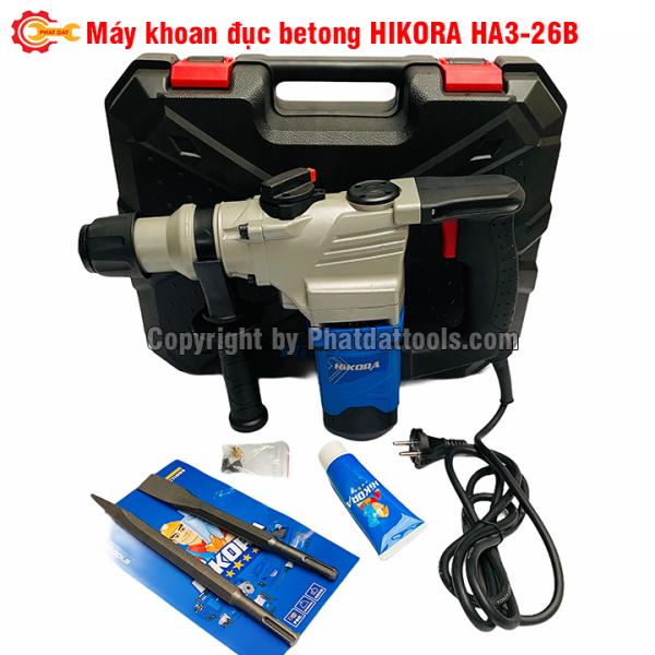 Máy khoan đục betong HIKORA HA3-26B-Công suất 1060W-Tặng kèm 2 mũi đục nhọn+dẹt-Bảo hành 6 tháng