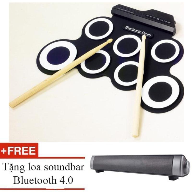 BestMart Bộ trống điện tử Electronic Drum Portable USB (Black White) + tặng loa bluetooth 4.0 soundbar